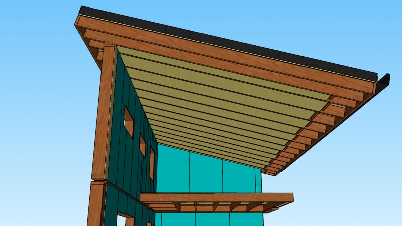 isolation du toit mono-pente en fibre de bois