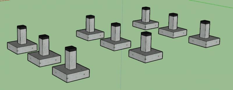 fondation de MOB : plots en béton