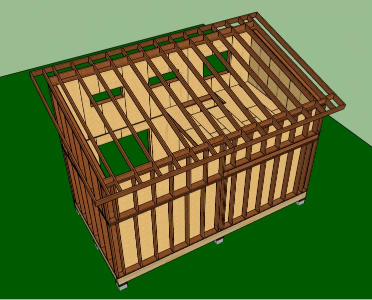 structure du toit mono-pente en ossature bois