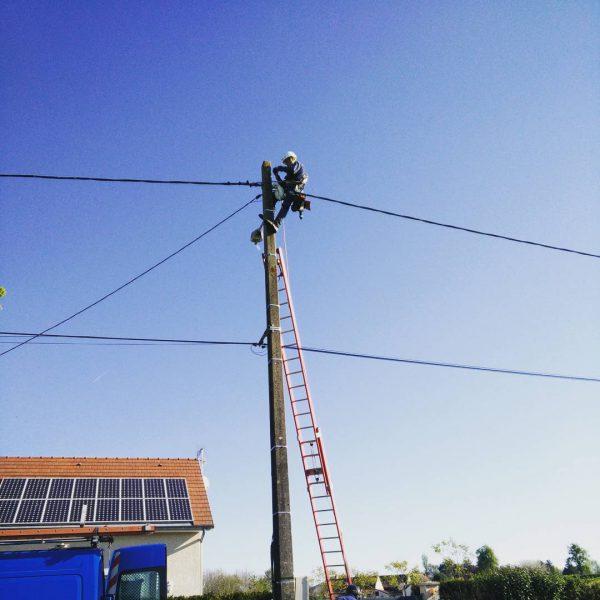 Raccordement électrique provisoire par les techniciens ENEDIS