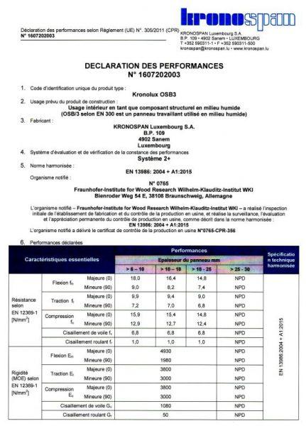 Déclaration performance OSB3 Brico Dépôt