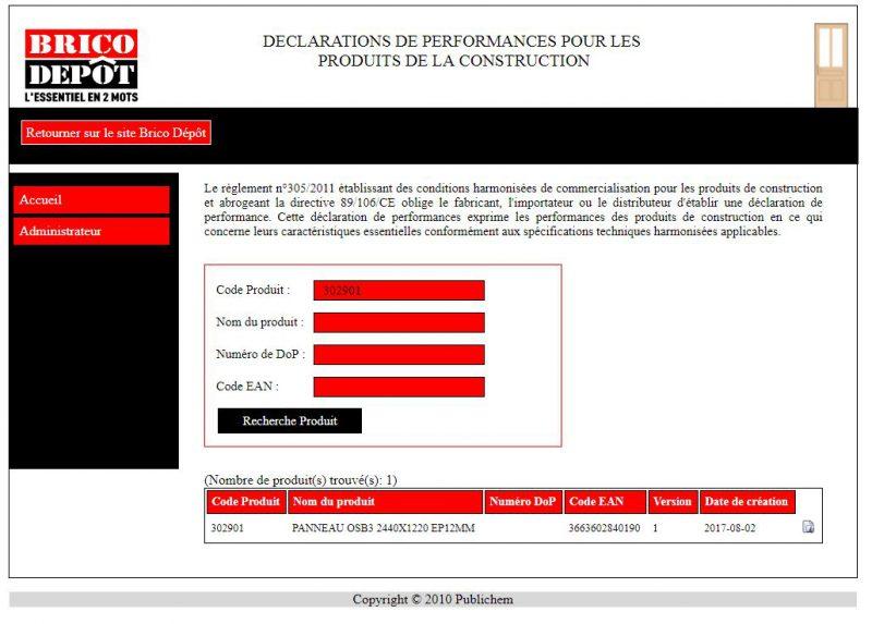 Site déclaration performance Brico Dépôt