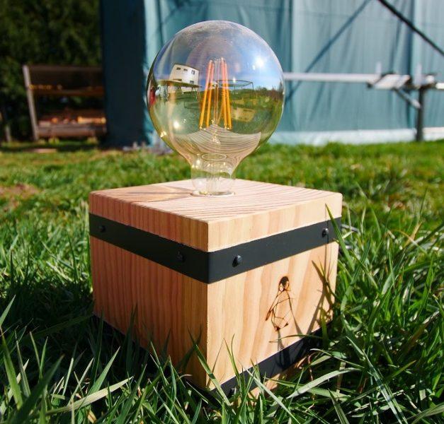Lampe diy en bois et aluminium