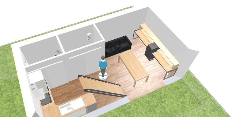 Plan 3D espace de vie salle à manger