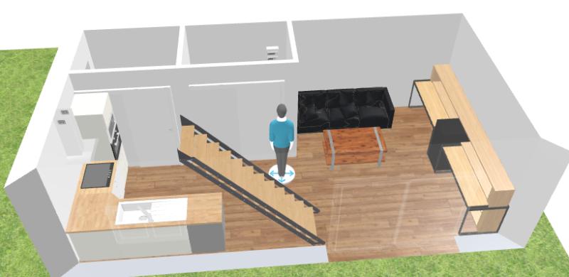 Plan 3D espace de vie bureau et salon