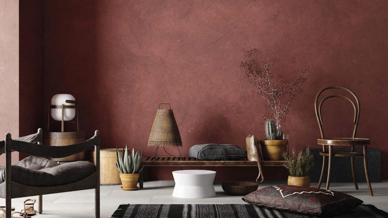 Mur en béton ciré coloré