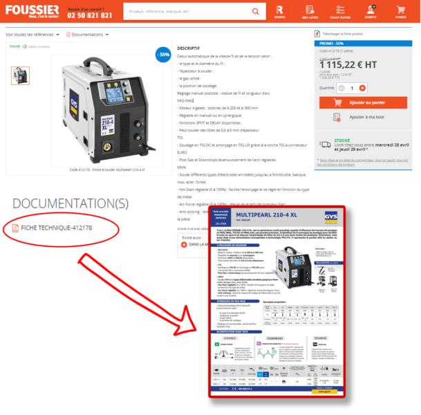 Exemple de fichie produit sur le site d'un fournisseur d'outillage